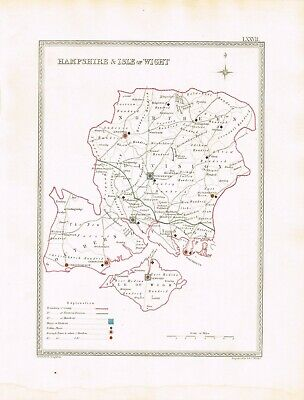 Hampshire Isle of Wight Old Antique Map Plan Print  CREIGHTON / WALKER c.1835