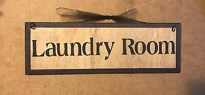 """LAUNDRY ROOM SIGN country primitive wood farmhouse wall art wooden decor 4x12"""""""