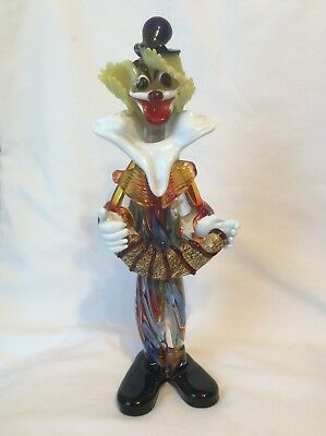 "Murano Venetian Italian Hand Made Italy Art Glass Clown  12"" tall T"