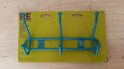 """Room Essentials Wall-Mount 3-Hook Rail """"Sea Going Fishing"""" (Turquoise) Color"""