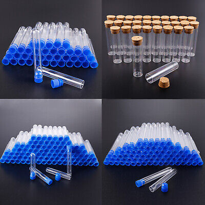 40-100x Plastic Clear Test Tubes Storage Bottles Non-Toxic Chemical Experiments
