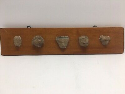 5 Clay Pre Columbian Heads Aztec Mayan Olmec Mexican Mounted For Display