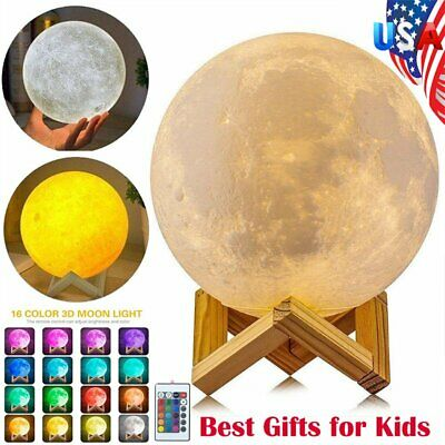 3D Moon Lamp USB LED Night Lunar Light Moonlight Touch/Remote Color Changing P9
