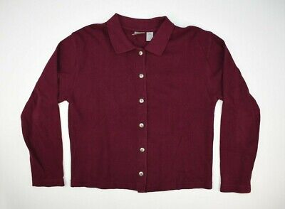 VTG Women's Burgundy Eastern Mountain Sports Rugby Button Down Sweater Sz L USA