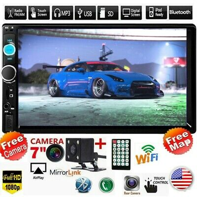 7'' 2DIN HD Touch Screen Android IOS Car Stereo MP5 Player FM Radio USB + Camera