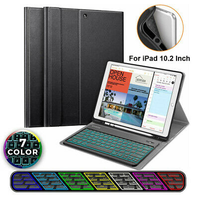 For iPad 10.2 Inch 2019 Case TPU Cover with 7 Color Backlit Bluetooth Keyboard