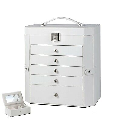 Large Jewellery Box Ring Necklace Watches Storage Organiser Cabinet Display Case