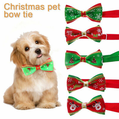 Adorable Dog Cat Pet Puppy Kitten Christmas Collar Bow Tie Ribbon Necktie Collar