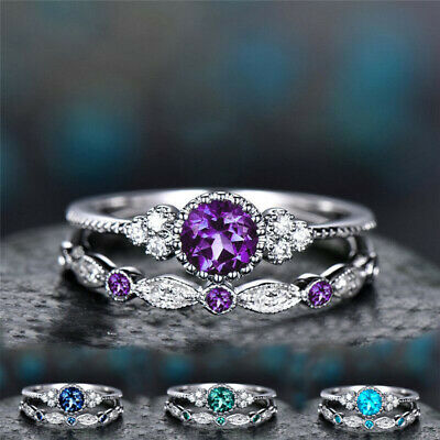 925 silver 3 tiny diamond pieces of  small fresh ladies 2pc sets ring