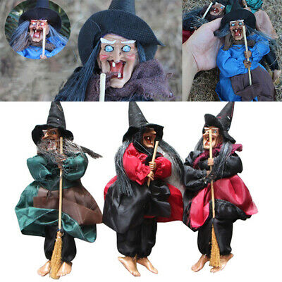 """12""""Halloween Hanging Animated Talking Witch Props Laughing Sound Control Decor C"""