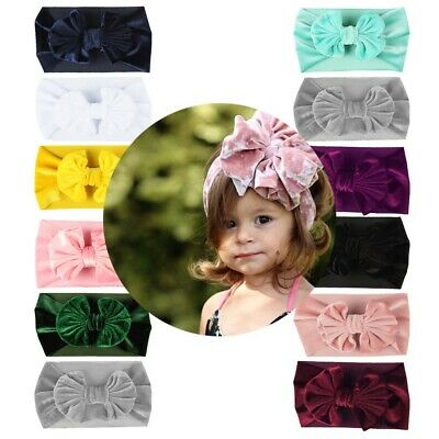 Girl Baby Toddler Velvet Bow Knotted Headband Elastic Wide Hair Band Accessories