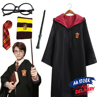 Harry Potter cloak Kids Robe Glasses Mans Tie Costume Wand Gryffindor Adult