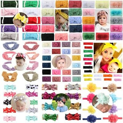 Baby Girls Kids Lace Flower Toddler Bunny Ear Bow Knot Turban Hair Band Headband