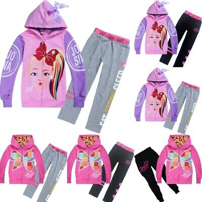 2020 JoJo Siwa Kids Tracksuit Costumes Boys Girls Hoodie + Pants Long Outfits