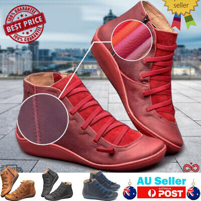 Women Autumn Arch Support Boots Lady Casual Chunky hot-flat-heel-Booties Shoes