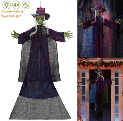 Life Size Hanging Animated Touch Activated Talking Witch Halloween Haunted House