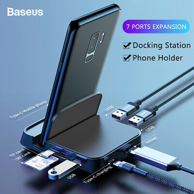 USB C to HDMI Adapter 7 in 1 Type-C HUB Docking Station Phone Charger Holder AU