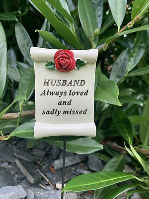 Husband Red Rose Scroll Stick - Memorial Tribute Spike Graveside Remembrance
