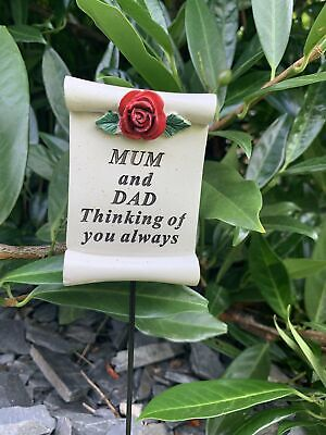 Mum and Dad Red Rose Scroll Stick - Memorial Tribute Spike Graveside Remembrance