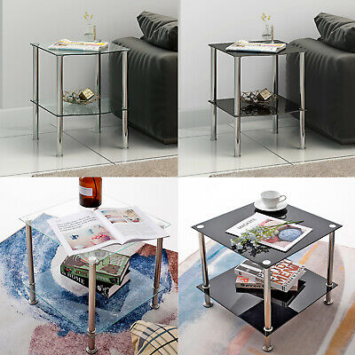 2 Tiers Modern Glass Side End Coffee Lamp Table Display Stand Black/Clear Shelf