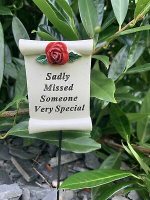 Someone Special Red Rose Scroll Stick - Memorial Tribute Spike Graveside