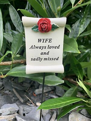 Wife Red Rose Scroll Stick - Memorial Tribute Spike Graveside Remembrance
