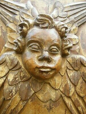 RECLAIMED CARVED CHURCH ANGEL CHERUB WOODEN BAROQUE GOTHIC WALL PANEL 17th c