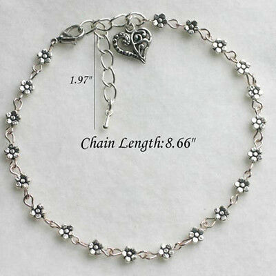 Fashion Lady Silver Bead Chain Anklet Ankle Bracelet Barefoot Sandal Foot IU