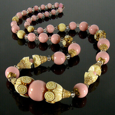 Antique Art Deco Czech Bohemian Poured Glass Bead Necklace