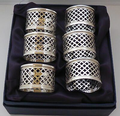Boxed Set 6 Hallmarked Solid Silver Napkin Rings Serviette Ring