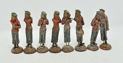 Antique Terracotta Pottery Musician Figurines Set of 8 Pcs Hand Crafted Painted