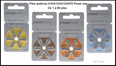 Piles boutons auditives Power One, appareils auditifs 10/13/312/675