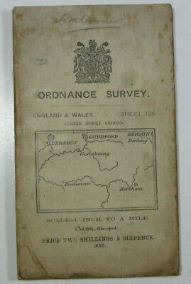 1914 Old OS Ordnance Survey Third Edition One-Inch Map 125 Guildford & Horsham