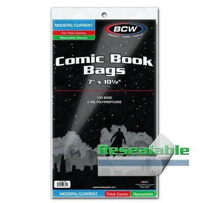 100 BCW Resealable Thick Modern Current Comic Book Bags Safe Storage Acid Free