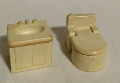 Fisher Price Little People Vintage 725 BATHROOM/UTILITY Lot White Toilet Sink