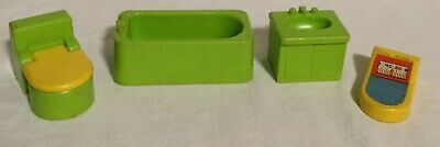 Fisher Price Little People Vintage 725 BATHROOM/UTILITY Lot Toilet Sink Bath Tub