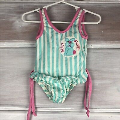 Vintage Sears One Piece Bathing Suit Swimsuit Toddler Girls Bunny 24 months