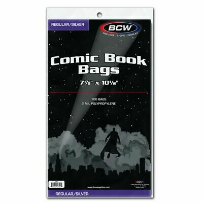 100 BCW Archival Regular/Silver Comic Book Bags 2 Mil Acid Free Safe Storage NEW