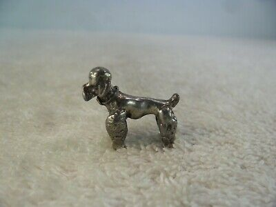 Novelty Miniature Solid Silver Toy Poodle Figurine