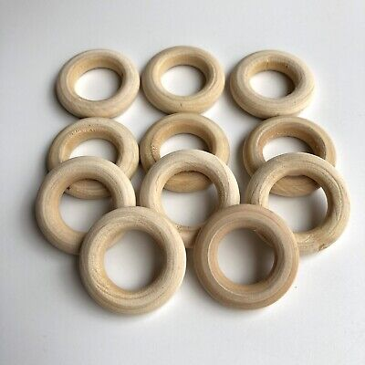 20X Round Unfinished Wood Ring Bead 28mm Donut Shape  Donut DIY Craft