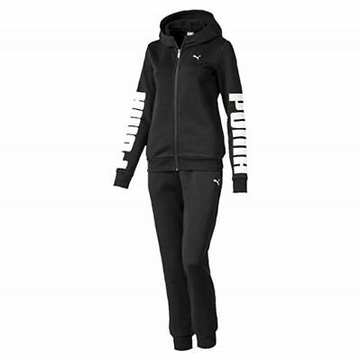 Tuta da donna Puma Rebel Sweat Suit Ginnastica nero bianco Regular Cappuccio Zip