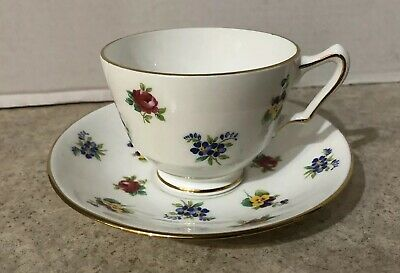 Crown Staffordshire Bone China Tea Cup and Saucer Colorful Flowers England
