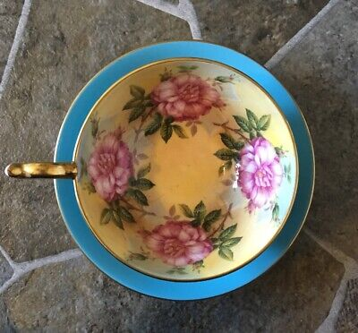 Aynsley Teacup Saucer Set Teal Turquoise Blue Cabbage Flowers Gold