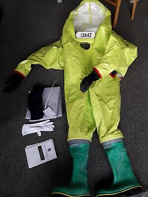 Hazmat Respirex Tychem TK Suit Type 1A with attached boots surplus stock