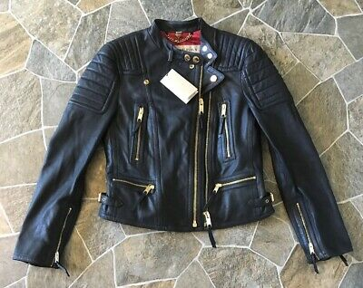 BURBERRY Doveport Black Leather Motorcycle Moto Biker Jacket Sz 6 New With Tags
