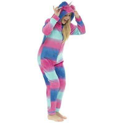 Ladies/Girls Fleece Unicorn All In One Jumpsuit Pyjamas Outfit Costume Blue/Pink