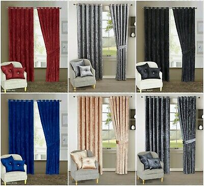 Crushed Velvet Blackout Eyelet Curtain With Ring Top Fully Lined Tie Backs