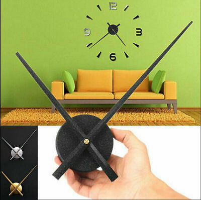 Large Metal DIY Silent Sweep Non Ticking Big Wall Clock Hour Minute Hand NEW YB