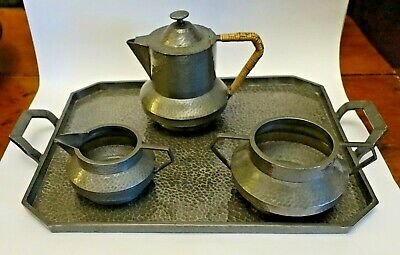 SHLF ARTS & CRAFTS HAMMERED PEWTER 3 PC. TEA SET WITH TRAY, ENGLAND Warwick