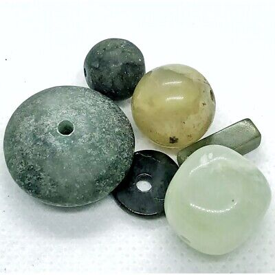 5 Old South American & Asian Green Jade Beads Antique Stone Trade Jewelry Gem